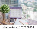 open notebook calendar june...   Shutterstock . vector #1098208154