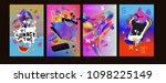 colorful summer poster set.... | Shutterstock .eps vector #1098225149