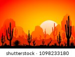sunset in the desert.... | Shutterstock .eps vector #1098233180
