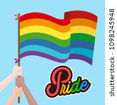 pride hand hold rainbow flag... | Shutterstock .eps vector #1098245948