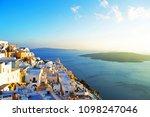 beautiful sunset on santorini...   Shutterstock . vector #1098247046