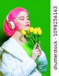 trendy vivid girl with pink... | Shutterstock . vector #1098256163