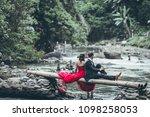 a beautiful young honeymoon... | Shutterstock . vector #1098258053