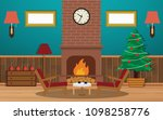 decorating the living room with ... | Shutterstock .eps vector #1098258776