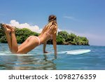 beautiful young sporty surfer... | Shutterstock . vector #1098276359