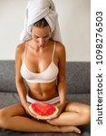 portrait of beautiful fit woman ... | Shutterstock . vector #1098276503