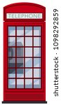 A Red Telephone Booth On White...