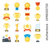 golden cups for winners and... | Shutterstock . vector #1098320720