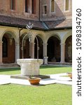 Small photo of Vicenza, Italy - April 22, 2018: White well in stone in the Old Cloister of the convent of Saint Lawrence called Chiostro di San Lorenzo in Italian Language