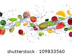 Fresh Fruits Falling In Water...