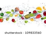 Fresh Fruits Falling In Water...
