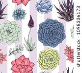 succulents seamless striped... | Shutterstock . vector #1098336173