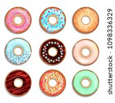 donuts with cream and chocolate.... | Shutterstock . vector #1098336329