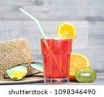 summer holiday cocktail glass | Shutterstock . vector #1098346490