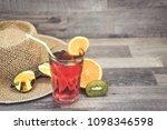 summer holiday cocktail glass | Shutterstock . vector #1098346598
