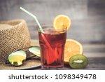 summer holiday cocktail glass | Shutterstock . vector #1098349478