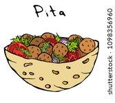 falafel pita or meatball salad... | Shutterstock .eps vector #1098356960