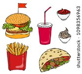 burger  cola cup with straw ... | Shutterstock .eps vector #1098356963