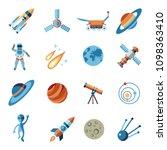 digital vector line icons set... | Shutterstock .eps vector #1098363410