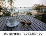 hot coffee on wooden table with ... | Shutterstock . vector #1098367430
