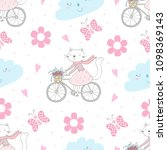 seamless pattern with cute...   Shutterstock .eps vector #1098369143