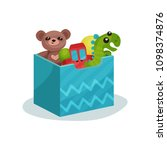 blue box full of children toys. ... | Shutterstock .eps vector #1098374876