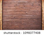 wooden wall from logs | Shutterstock . vector #1098377408