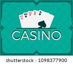 casino  poker game  full house  ... | Shutterstock .eps vector #1098377900