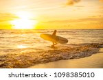 young fit surfer woman in sexy... | Shutterstock . vector #1098385010