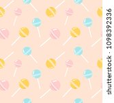colorful lollipops on pastel... | Shutterstock .eps vector #1098392336