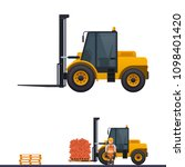 vector forklift  orange... | Shutterstock .eps vector #1098401420