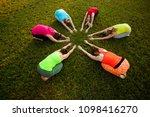six women practicing outdoor...   Shutterstock . vector #1098416270