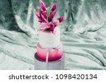 white wedding cake with flowers ... | Shutterstock . vector #1098420134