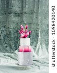 white wedding cake with flowers ... | Shutterstock . vector #1098420140
