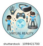 virtual reality icon | Shutterstock .eps vector #1098421700