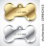 bone pendant for dog collar  ... | Shutterstock .eps vector #109842413