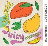 sweet juicy mango. exotic food. ... | Shutterstock .eps vector #1098426224