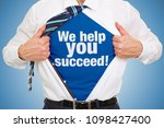 man carries slogan we help you... | Shutterstock . vector #1098427400