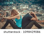 man and woman back to back ... | Shutterstock . vector #1098429086