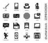 set of 16 simple editable icons ...