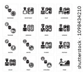 set of 16 simple editable icons ... | Shutterstock .eps vector #1098434210
