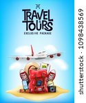 travel and tours poster with 3d ... | Shutterstock .eps vector #1098438569