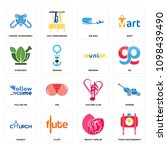 set of 16 simple editable icons ... | Shutterstock .eps vector #1098439490