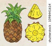 sweet juicy pineapple. summer... | Shutterstock .eps vector #1098441614
