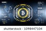 golden bitcoin cryprocurrency... | Shutterstock .eps vector #1098447104