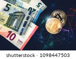 euro banknotes and gold... | Shutterstock . vector #1098447503