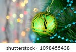 green baubles on christmas tree.... | Shutterstock . vector #1098455438
