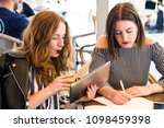 two young and trendy hipster...   Shutterstock . vector #1098459398