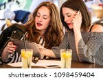 two young and trendy hipster...   Shutterstock . vector #1098459404