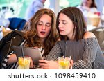 two young and trendy hipster...   Shutterstock . vector #1098459410